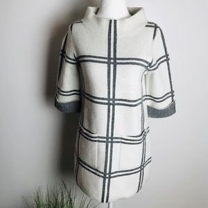 Moth Anthro XS White Grey Cowl Neck Sweater Dress